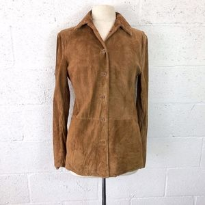 Real Clothes Suede Leather Jacket Tobacco Color